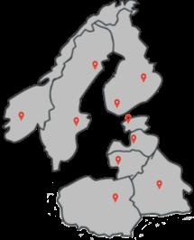 Карта Европы Сканди Прибалты с метками